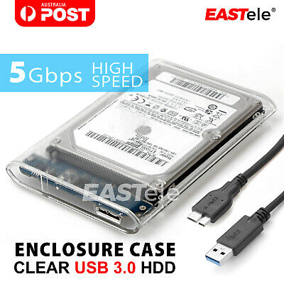 "USB 3.0 Transparent 2.5"" SATA SSD HDD Hard Disk Drive Enclosure Case"