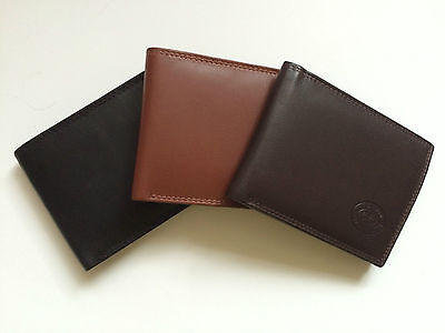 London Leathergoods Mens Gents Real Leather Slim Bifold Wallet Coin Pocket