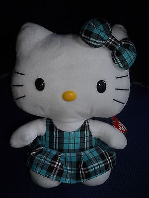 BNWT Large Hello Kitty Ty Beanie Buddies - Pale Blue Tartan Dress - 10""