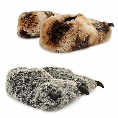 Mens Boys Novelty Monster Comfortable Furry Cosy Claw Foot Slippers Xmas Shoes