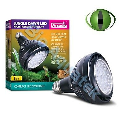 NEW Arcadia Reptile Jungle Dawn 40w LED Spot Light Bulb 6500K E27 Plant Growth