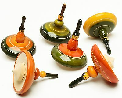 Assorted 6 Pcs Lot Handmade Wooden Spinning Tops Vintage Indian Craft Curio Gift