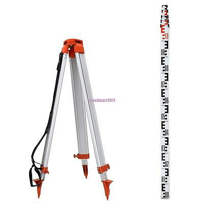 New 1.6M Aluminum Tripod + 5M Staff For Auto Levels Transits Construction Laser