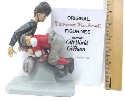 Norman Rockwell Football Tackle Figurine GORHAM 1976 Store Display  MINT