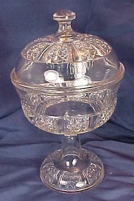 Vintage EAPG Six Panel Finecut Pattern Covered Compote Findlay Glass Ohio
