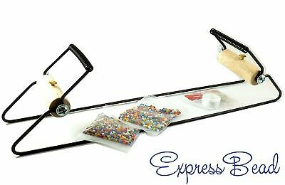 BeadSmith Bead Loom Kit Metal for Beginners with Seed Beads, Needles, Thread