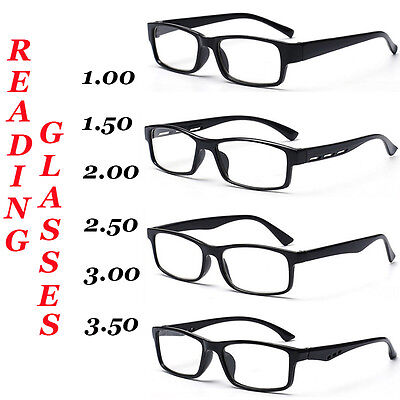 Reading Glasses, Unisex / Mens Ladies Trendy Designer, 4 Style, Black