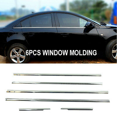 6Pcs Fit For 2010-16 Chevrolet Cruze Chrome Door Window Sill Trim Molding Cover