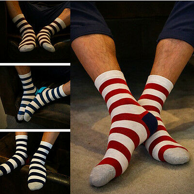 Fashion Womens Mens Striped Long Design Cotton Sport Socks Casual Ankle Socks