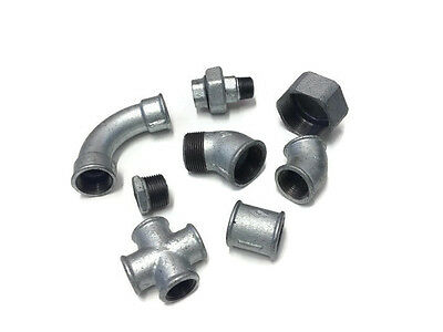 "Galvanised Malleable Iron Metal Pipe Fitting BSP Threaded Ranging From 1/4"" - 2"""
