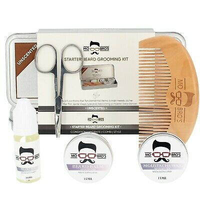 Beard Grooming Care Gift Set Tin | Balm, Wax, Oil, Comb, Scissors | Unscented