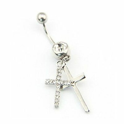 - Clear Rhinestone Silver Double Cross Style Belly Ring