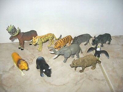 LOT 11 FIGURINES ANIMAUX SAUVAGES 10 CM environ G5