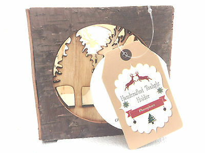 2 X Christmas Rustic Silver Birch Winter Woodland Scene T Lght Candle Holder
