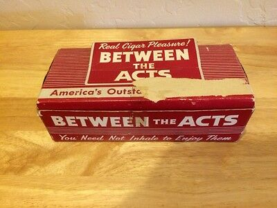 """VINTAGE """"BETWEEN THE ACTS"""" LITTLE CIGARS - BOX OF 10 FULL TINS"""