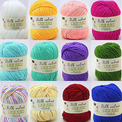 50g Smooth Cotton Silk Protein Baby Wool Knitting Yarn + Coral Fleece 20 Colors
