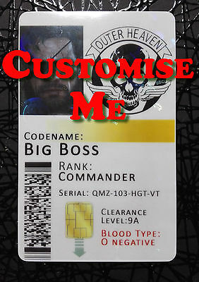 Metal Gear Solid Outer Heaven Novelty ID Badge Card **Customisable + HOLOGRAM**