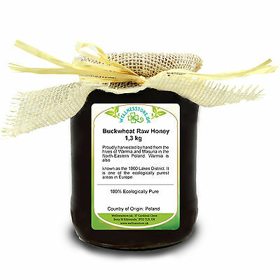 1,3 kg BUCKWHEAT HONEY Pure Natural Raw ECO Harvest / miod gryczany + GIFT