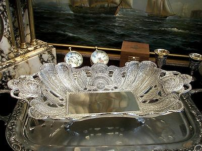 Silver Plated Fruit Bowl Ornate Centerpiece Heavy Solid Vintage Antique Gift