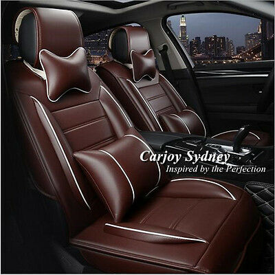 Brown Leather Car Seat Covers 5 Seats WATERPROOF Honda Jazz Civic Accord CR-V