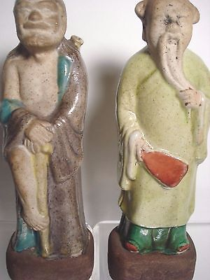 2 Vtg Antique China Chinese Asian Mudman Elder pottery Figurine~holes in ears~