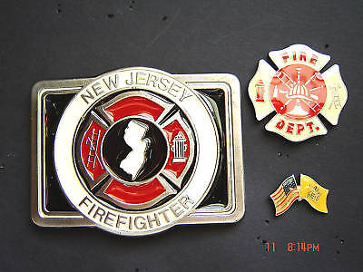 Firefighter NEW JERSEY Special Buckle & FD, NJ Flag Pin