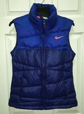 NIKE Alliance 550 Blue Fitted Quilted Down Puffer Winter Vest NEW Womens Sz S