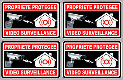 4 X VIDEO SURVEILLANCE PROPRIETE ALARME CAMERA 10cm AUTOCOLLANT STICKER VA050