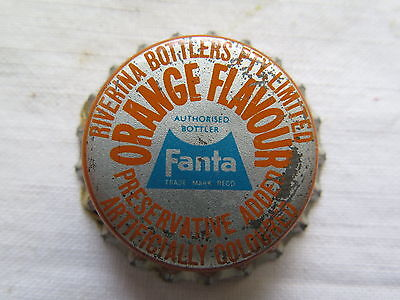 CROWN SEAL BOTTLE CAP COCA COLA RIVERINA BOTTLERS FANTA ORANGE FLAV USED c1960