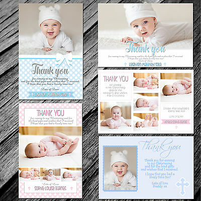 Personalised Photo Boy / Girl CHRISTENING / Baptism / THANK YOU cards