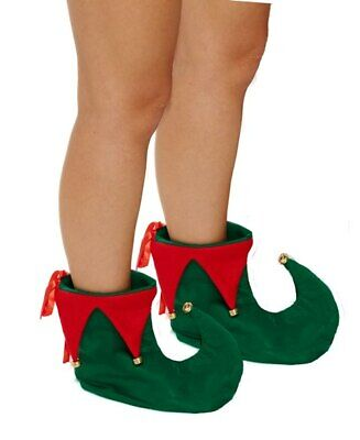 UNISEX METALLIC RED AND GREEN JESTER ELF PANTO SHOE COVERS FANCY DRESS ACCESSORY
