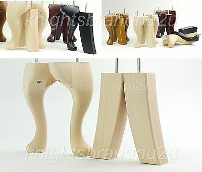 4x SOLID WOOD REPLACEMENT FURNITURE LEGS FEET  SOFA, CHAIRS, SETTEE M10(10mm)