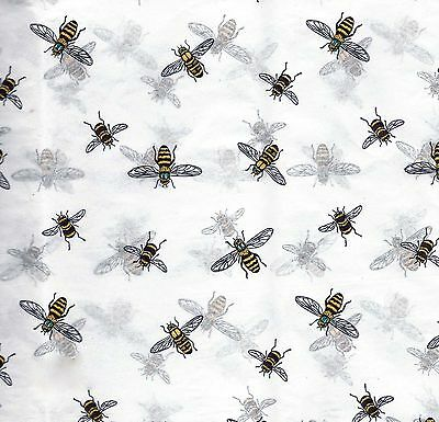 "BUMBLE BEES on White Tissue Paper # 253 -- 10 Large 20"" x 26"" Sheets"