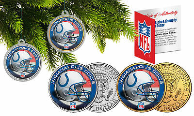 INDIANAPOLIS COLTS Colorized JFK Half Dollar 2-Coin Set NFL Christmas Ornaments