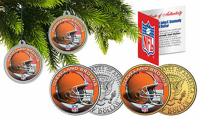 CLEVELAND BROWNS Colorized JFK Half Dollar US 2-Coin Set NFL Christmas Ornaments
