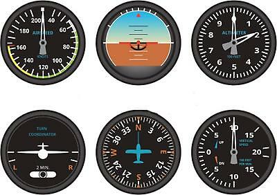 6 x Autocollant sticker macbook voiture avion aviation aeroport compteur cockpit