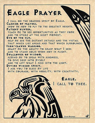 EAGLE PRAYER Shaman Animal Spirit Poster Page Art Native American Celtic Wicca