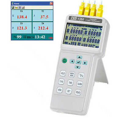 TES-1384 4 Input Thermometer / Datalogger Memory and Read function (99 sets)