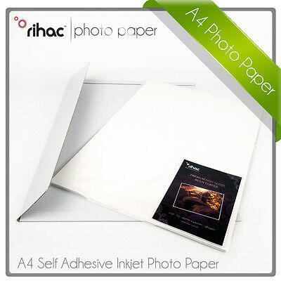 Rihac Sticker High Gloss Photo Paper A4 50pk x 115/80gsm Self Adhesive Inkjet