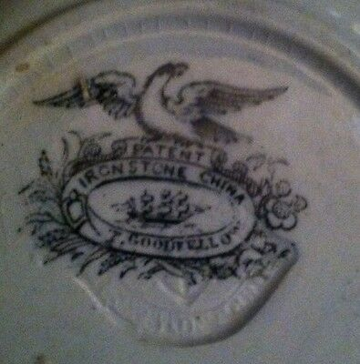 Antique Ironstone Plate Thomas Goodfellow VERY RARE and OLD Excellent Mark