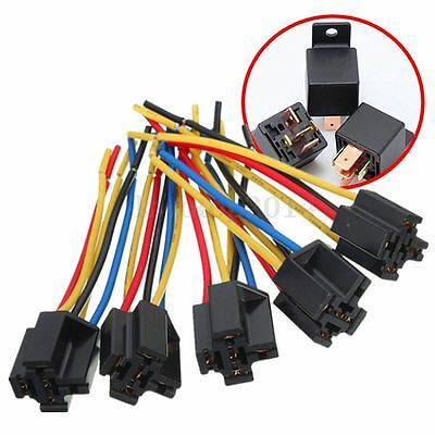 5pcs/Set 5 Pin Cable Wire Relay Socket Harness Connector DC 12V for Auto Car NEW