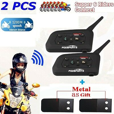 2x 1200M BT Bluetooth Motorcycle Helmet Headset Mic Intercom Interphone 6 Riders