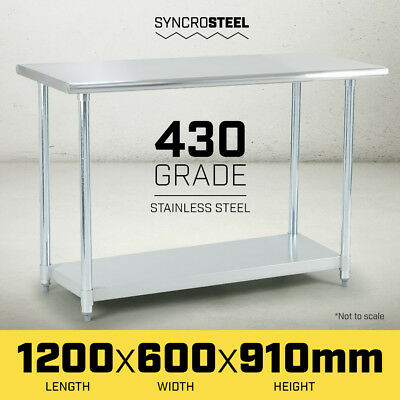 1200 x 600 STAINLESS STEEL 430 COMMERCIAL WORKBENCH BENCH TABLE