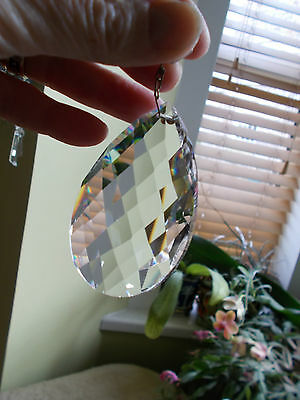 Vintage Chandelier Luster Part Crystal Cut Glass  Facted Sides