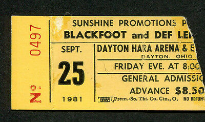 Original 1981 Def Leppard Blackfoot concert ticket stub Dayton OH High n Dry