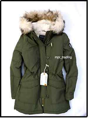 NWT American Eagle Womens Fur Sherpa Hooded Long Military Parka Coat Olive S M L