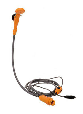 Oztrail 12 Volt High Flow Camp Shower with Hose, 5 Metre Power Cord and PVC Carr