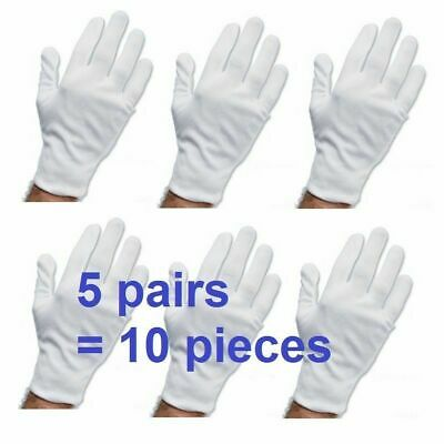 White Work Jewellery Handling Costume Cotton Soft Thin Gloves Gym 5 Pairs 10 Pcs