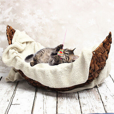 Photography Prop Handmade Crescent Woven Basket Newborn Baby Infant Boat Box