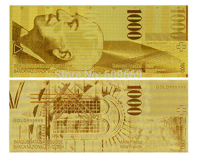Switzerland Francs 1000 Schweizer Franken Gold Replica